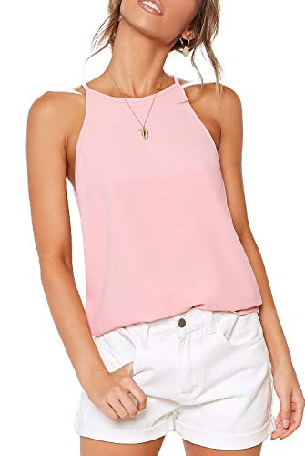 LouKeith Womens Shirts Halter Tank Tops Summer Racerback Casual Spaghetti Strap Beach Workout Tee Shirts Blouses Pink M ()