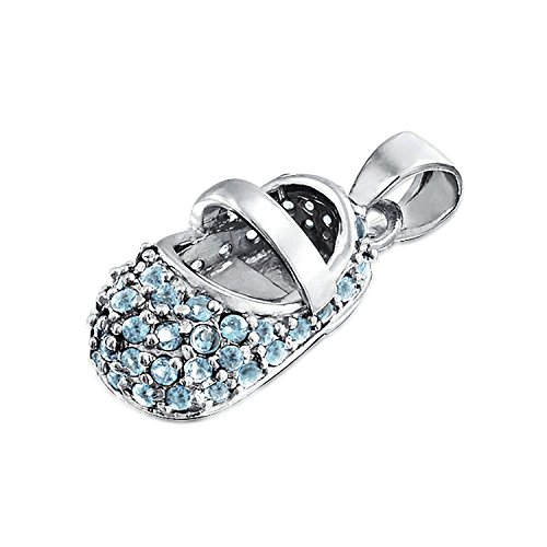Simulated Blue Topaz CZ Baby Shoe Pendant 925 Silver