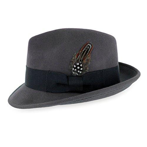 Belfry Trilby Men/Women Snap Brim Vintage Style Dress Fedora Hat 100% Pure Wool Felt Available in Black, Grey, Pecan (XL,Grey)