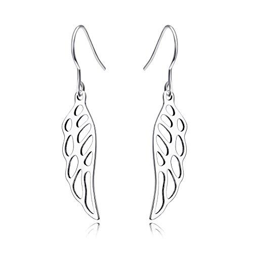 YFN 925 Sterling Silver Angel Wings Dangle Drop Earrings - Free Angel Wings