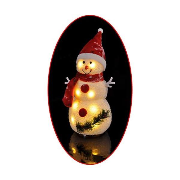Bambelaa! Pupazzo di neve con luce LED, rosso, decorazione natalizia illuminato, 42 cm, funzionamento a batteria 7 spesavip