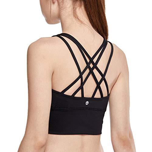 CRZ YOGA Strappy Sports Bras for Women Longline Wirefree Padded Medium Support Yoga Bra Top Black M