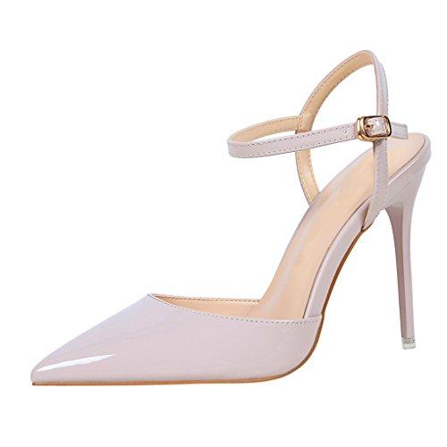 Oaleen Escarpins Femme Sexy Vernis Bride Cheville Talons Haut Aiguille Chaussures Soirée Violet pale CAxsI4rk