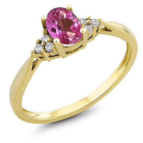 Gem Stone King 0.50 Ct Oval Pink Mystic Topaz and Diamond 14K Yellow Gold Ring (Size 6) ()