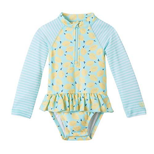 UV SKINZ UPF 50+ Baby Girls LS Ruffled Swim Suit - Beach Glass Lemon - 18/24m