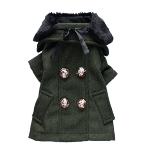 Noble Luxury Dog Wool Coat Dog Double Breasted Coat Cozy Warm Pet Coat + Detachable Faux Fur Collar Free Shipping,Armygreen Coat,L, My Pet Supplies
