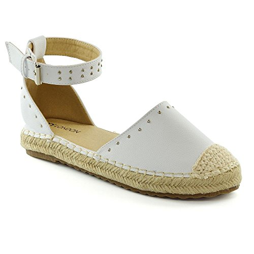 ESSEX GLAM Womens Espadrilles Summer Sandals Ladies Studded Low Wedge Flatforms Shoes Size White H1QHOIf