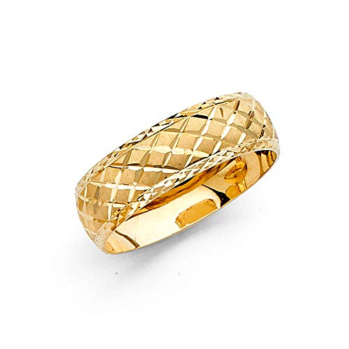 Jewels By Lux 14k Gold Round Cubic Zirconia Yellow Ring 6MM Diamond-Cut Anniversary Wedding Band Size 10