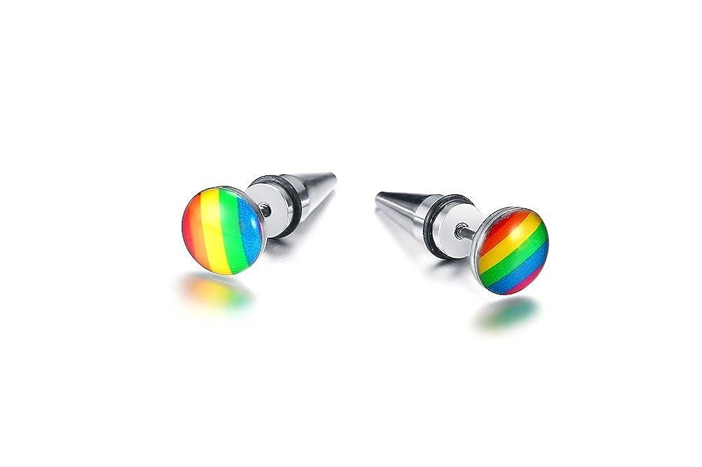 PJ Stainless Steel Gay Pride Rainbow Flag Taper Plug Ear Stud Earrings for Gay /& Lesbian