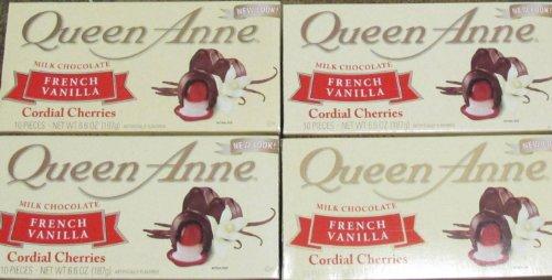 NEW Queen Anne Milk Chocolate French Vanilla Cordial Cherries (4 Boxes) 6.6 Oz. Each