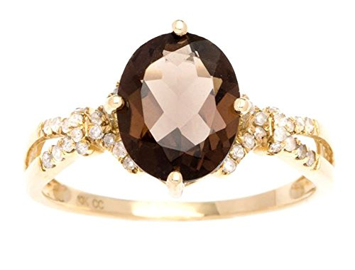 Instagems 10k Yellow Gold 2.10ct Oval Smoky Quartz and Diamond Ring (1/5 (Diamond Smoky Ring)