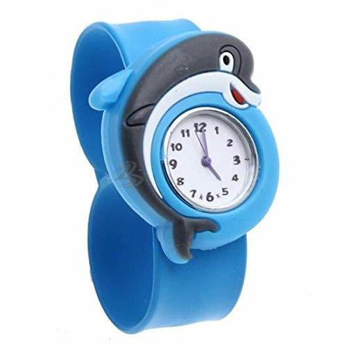 EXOH Lovely Silicona BLEU Dauphin Reloj Movimiento Cuarzo Pulsera Chic para Niños