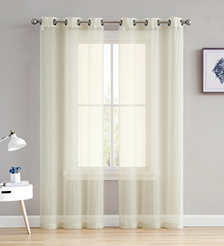 Sara - Crushed Semi-Sheer Grommet Curtains - 2 Pieces - Super Soft and Stylish - 108 Inch Long - Total 76 Inch Wide - Add Beauty to Any Window in Home or Office (38