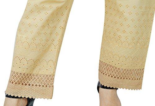 Bordados De Algodón De Las Mujeres Ropa De Sport Sólido Palazzo Harem Elástico De La Cintura De Las Bragas marrón