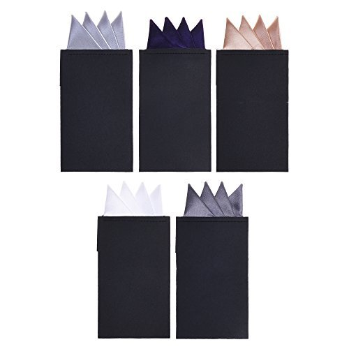 (BCP 5pcs Pre Folded Satin Pocket Square Necktie On Card Bouquet Suit for Wedding Business (Pack C Mountain Shape) White Silver Dark Gray Purple Champagne)