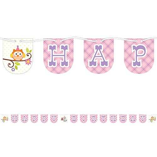 Creative Converting Happi Woodland Happy Birthday Banner for Baby Girl - Birthday Party Decorations Birthday Garland, Hanging Pennant Banner with String, 7 Feet Long ()