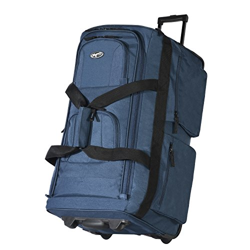 Olympia USA 33 Inch 8 Pocket Rolling Duffel (Navy w/Black - Exclusive Color) (22 X 18 X 10 In Luggage)