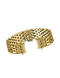 20mm Men's Quality Metal Watch Bracelet Belts in Gold 316L Inox Steel with Removable Links Curved End