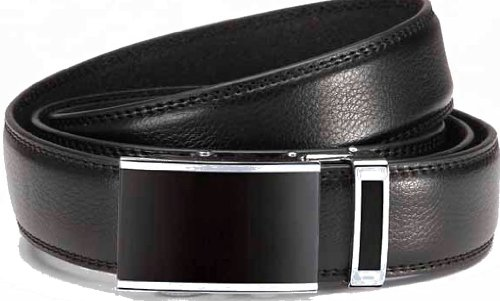 Gürtel, Automatik-Gürtel, Anzug Gürtel mit eleganter Automatikschließe, Breite: 3,1 cm (Taille 95 cm - total + 10 cm, Schwarz)