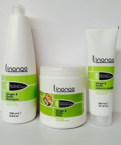 Linange Ginger & Garlic Shampoo 33oz, Mask 33oz and Leave in 10.14oz Set. *Free Starry Sexy Kiss Lip Plumping 10 Ml* by LINANGE