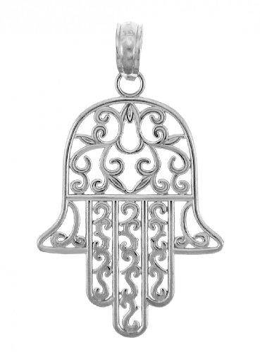 Hamsa Charm Pendant - 925 Sterling Silver Jewish Hamesh Hand Filigree Charm Hamsa Pendant