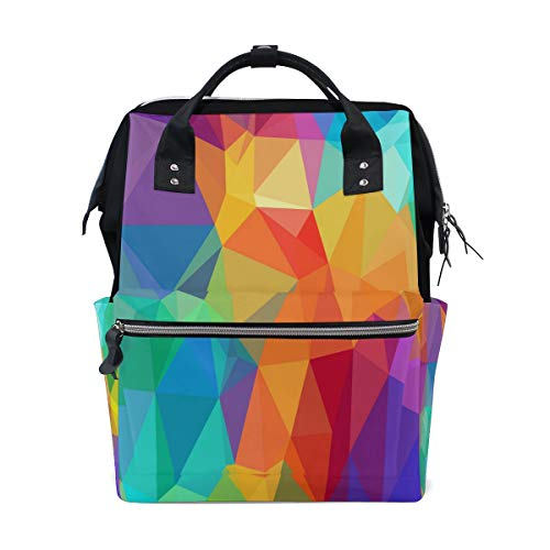 HangWang Diaper Bags Colorful Geo Triangles Fashion Mummy Backpack Multi Functions Large Capacity Nappy Bag Nursing Bag for Baby Care for (Best Bluboon Outdoor Products Laptop Backpacks)