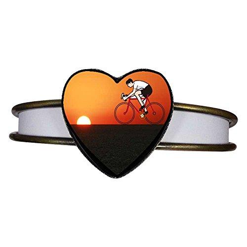 Bracelet Cuff Set Mountain (GiftJewelryShop Bronze Retro Style Olympics Cycling Mountain Bike sunset Heart Cuff Bangle Bracelet)