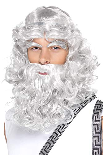 Smiffys Men's Curly Grey Wig with Beard and Eyebrows, One Size, Zeus Wig, 5020570423011,White ()