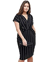 ede2e85425315 Women Plus Size Office Vertical Stripes V Neck Ruffles Shirt Dress