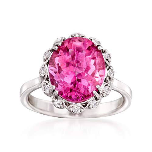 Ross-Simons 5.95 Carat Pink and White Topaz Ring in Sterling Silver