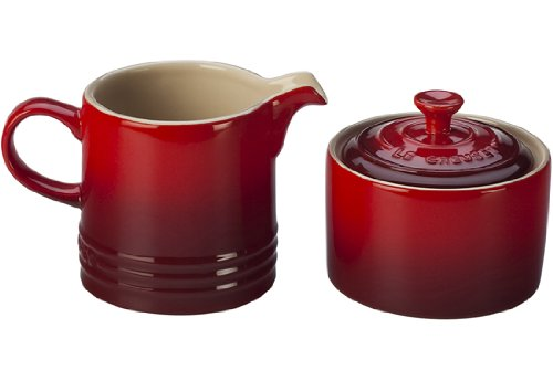 (Le Creuset Stoneware Cream and Sugar Set, Cerise (Cherry Red))