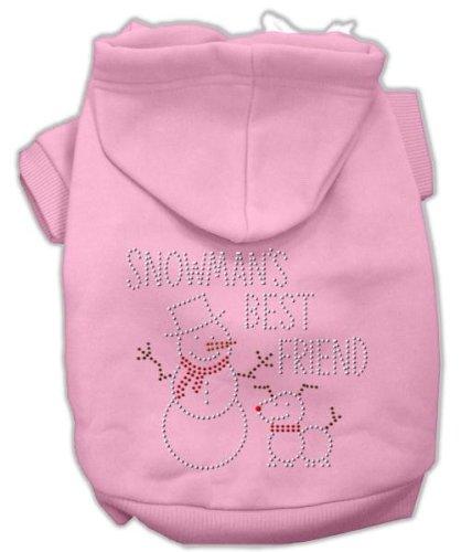 Mirage Pet Products 14-Inch Snowman's Best Friend Rhinestone Hoodie, Large, Pink