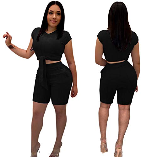 Capri Spandex Tie - Women Sexy 2 Piece Outfits- Short Pant Rompers Tie Crop Top with Sleeve Pockets Black 2XL