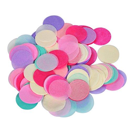 HOUSWEETY 900pcs Multi-Coloured Tissue Paper Rainbow Circles Confetti/Favor Wedding Marriage Decor