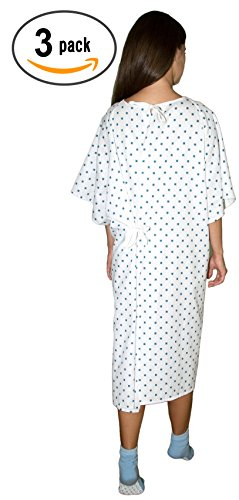 3 Pack - Deluxe Demure Print Hospital Gown/Hospital Patient Gown w/Back Ties by Careoutfit (Image #1)