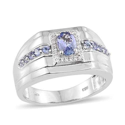 925 Sterling Silver Platinum Plated 1.1 Cttw Oval Tanzanite Signet Mens Ring Size 9