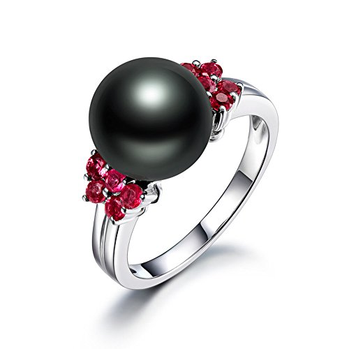 (10mm Tahitian Freshwater Black Pearl 14k White Gold Cluster Pink Tourmaline Engagement Ring Solitaire)