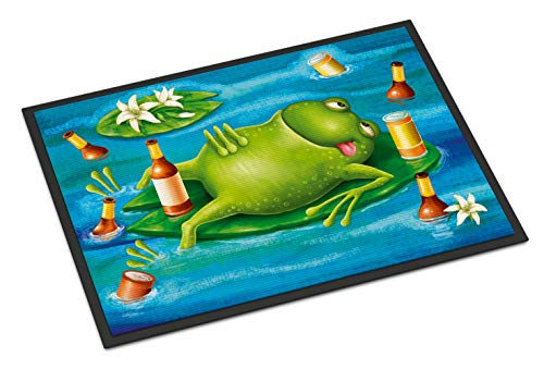 (Caroline's Treasures Frog Drinking Beer Indoor or Outdoor Mat 18x27 APH0093MAT, 18
