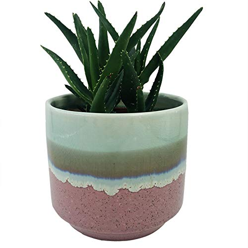 Better-way Flowing Glaze Orchid Planter Pot Modern Decorative Ceramic Planter Round Cylinder Flower Plant Container Home Office Desk Succulent Cactus Planter Indoor Decoration (Pink)