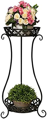PLDDY Soporte de Flores para Exterior, 2 Niveles, Soporte de Metal para macetas de Interior, Estante Expositor para 2 macetas, Escalera Negra Decorativa: Amazon.es: Hogar