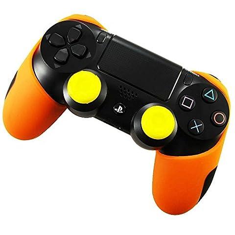 Pandaren Soft Silicone Thicker Half Skin Cover for PS4 /SLIM /PRO Controller Set (Orange skin X 1 + Thumb Grip X (Xbox 360 Aluminum Triggers)
