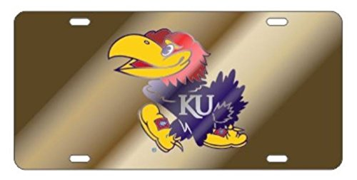 Kansas Jayhawks Laser Cut Inlaid Mirrored Gold Plate w/Jayhawk Logo
