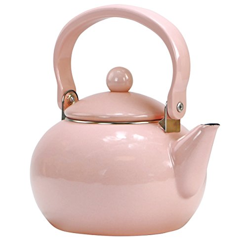 Calypso Basics by Reston Lloyd Enamel-on-Steel Tea Kettle, 2-Quart, Pink (Harmonic Tea Kettle)