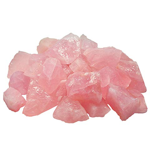 "UFEEL 1 lb Bulk Rough Rose Quartz Crystal for Tumbling, Cabbing, Polishing - Large 1"" Natural Raw Stones 1 Pound (About 450 Gram)"