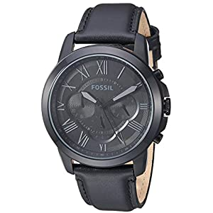 Fossil Men's Grant Quartz Stainless Steel and Leather Chronograph Watch, Color: Black (Model: FS1321IE) 23