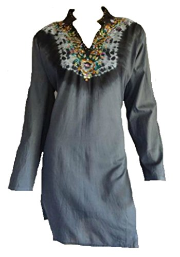 Waldorf Four Light - Geeta Hand Crafted Light Brown Long V Neck Kurta One Size Bust 44