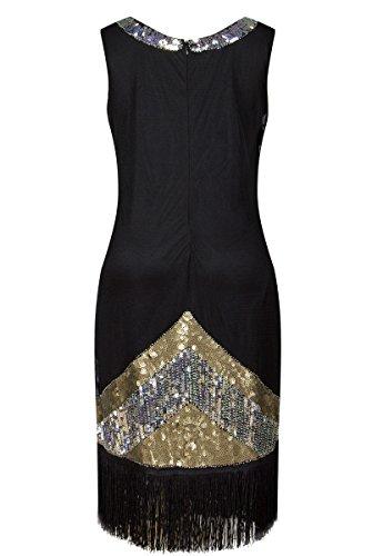 Gatsby 1920s DEARCASE Fireworks Vintage Fringed Flapper Sequin Women's Dress Silver Beads 177qT8wp