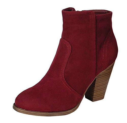 Breckelles Women's HEATHER-34 Faux Suede Chunky Heel Ankle Booties Wine Suede (Purple Suede Booties)
