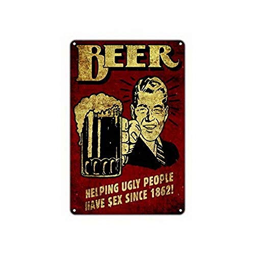 TEcell Beer Helping Ugly People Have Sex Since 1862! Epic Novelty Vintage Funny Metal Signs Metal Tin Wall Sign Plaque Retro Wall Art 8x12 ()