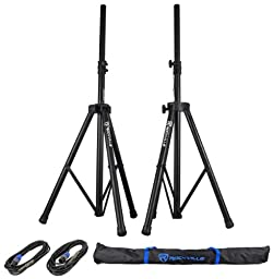 2) Rockville RSG12.4 12 3-Way 1000w 4-Ohm Passive DJ Speakers+Stands+Cables+Bag